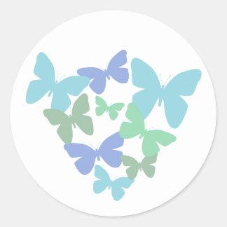 Pastel butterflies round stickers
