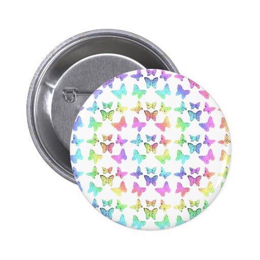 Pastel Butterflies Swirl Pattern Buttons