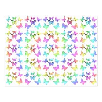Pastel Butterflies Swirl Pattern Postcard