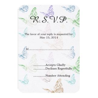 Pastel Butterflies Wedding RSVP Card