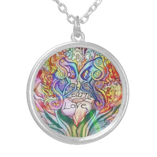 Pastel Butterfly and Rose Round Pendant Necklace