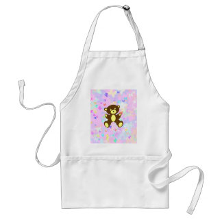 Pastel Butterfly Background With Brown Bear Adult Apron