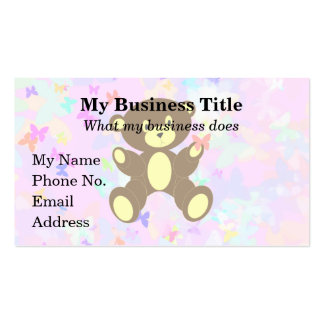 Pastel Butterfly Background With Brown Bear Business Card