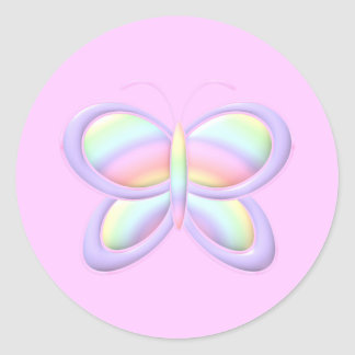 Pastel Butterfly Classic Round Sticker
