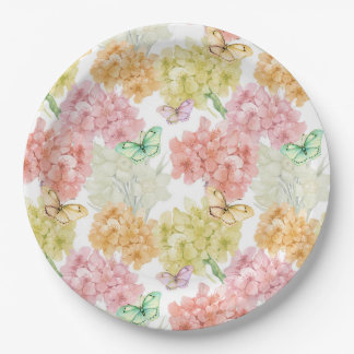 Pastel Butterfly Floral Garden Paper Plate