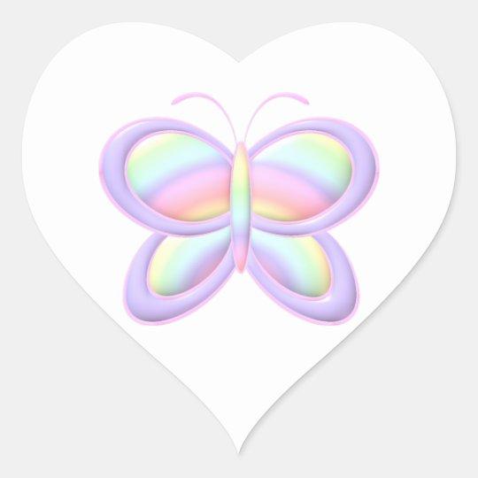 Pastel Butterfly Heart Sticker