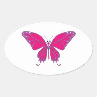 Pastel Butterfly Oval Sticker