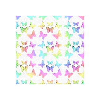 Pastel Butterfly Pattern Canvas Print