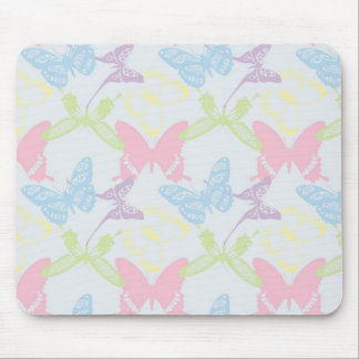 Pastel Butterfly Pattern Mouse Pad