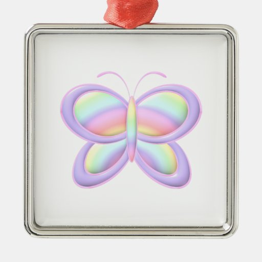 Pastel Butterfly Square Metal Christmas Ornament