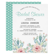 Pastel Cactus Flower Watercolor Bridal Shower Invitation