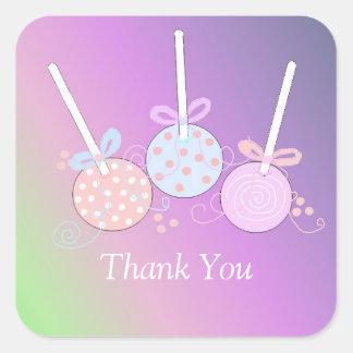 Pastel Cake Pop Thank You Square Sticker