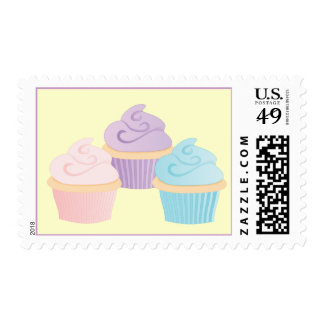 Pastel cakes postage stamp