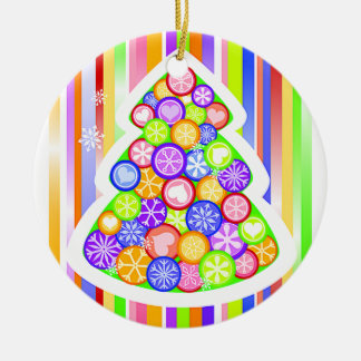 Pastel Candy Colors Christmas Tree Ceramic Ornament