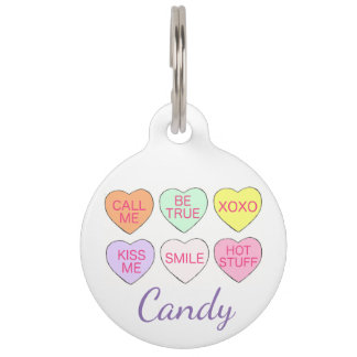 Pastel Candy Heart Personalized Valentine's Day Pet Name Tag