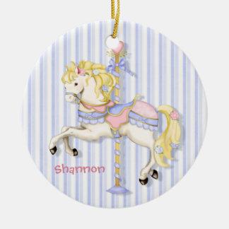 Pastel Carousel Pony Ceramic Ornament