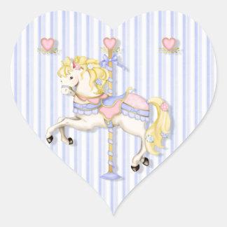 Pastel Carousel Pony Heart Sticker
