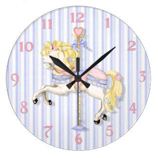 Pastel Carousel Pony Large Clock