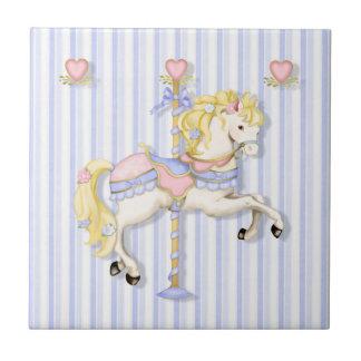Pastel Carousel Pony Small Square Tile