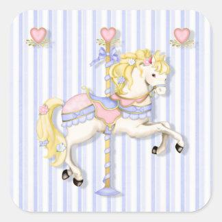 Pastel Carousel Pony Square Sticker