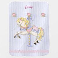 Pastel Carousel Pony Swaddle Blanket