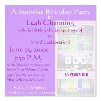 Pastel Casino Slot Machine Birthday Party 5.25x5.25 Square Paper Invitation Card