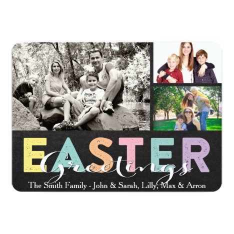 Pastel Chalk Family Easter Greeting Three Photos Card