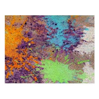 Pastel chalk splatter postcard