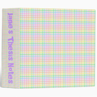 Pastel Checkerboard 3 Ring Binder