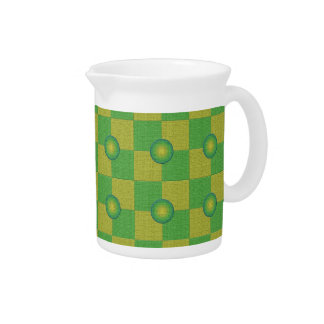 Pastel checkered and textured green yellow drink pitchers