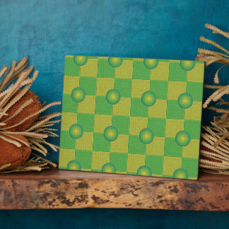 Pastel checkered and textured green yellow plaque