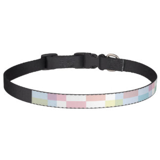 Pastel Checkers Pet Collar