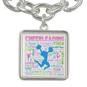 Pastel Cheerleading Words Typography Bracelet