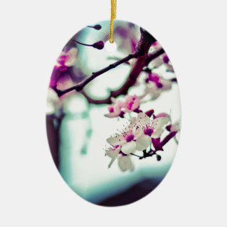 Pastel cherry blossom photo ceramic ornament