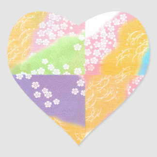 Pastel Cherry Blossoms Heart Sticker