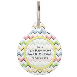 Pastel Chevron-Drop Shadow by Shirley Taylor Pet Name Tag