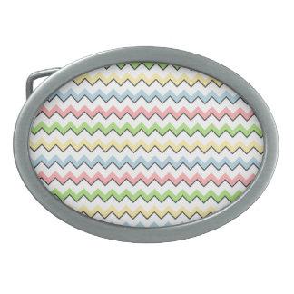 Pastel Chevron-Drop Shadow Oval Belt Buckle