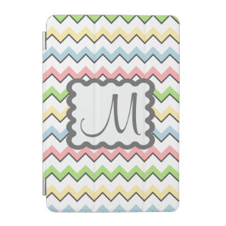 Pastel Chevron-Drop Shadow With Monogram iPad Mini Cover