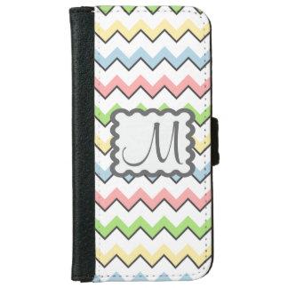 Pastel Chevron-Drop Shadow With Monogram iPhone 6 Wallet Case