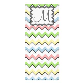 Pastel Chevron-Drop Shadow With Monogram Rack Cards