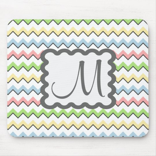 Pastel Chevron-Drop Shadow With Monogram STaylor Mouse Pad