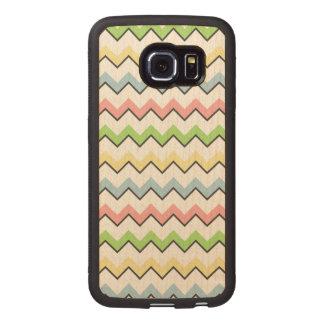 Pastel Chevron-Drop Shadow Wood Phone Case