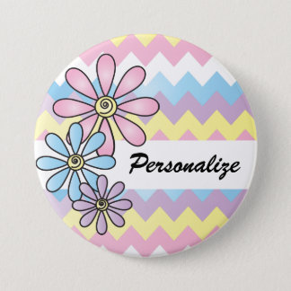 Pastel Chevron Floral | DIY Name Pinback Button