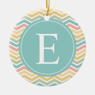 Pastel Chevron Monogram Pink Yellow Blue Ceramic Ornament