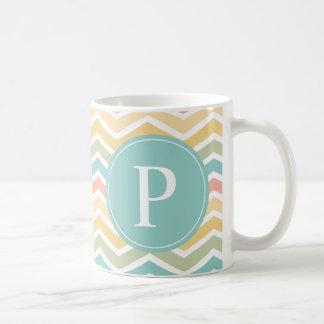 Pastel Chevron Monogram Pink Yellow Blue Coffee Mug
