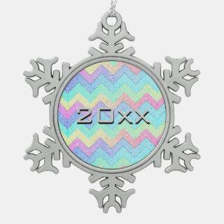 Pastel Chevron Mosaic Custom Snowflake Pewter Christmas Ornament