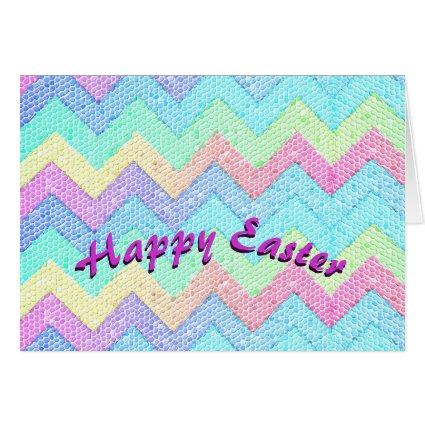 Pastel Chevron Mosaic HAPPY EASTER Greeting Cards