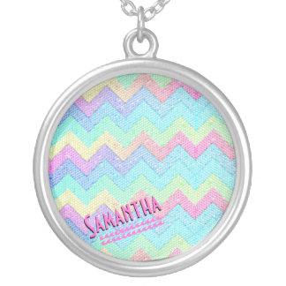 Pastel Chevron Mosaic Personalized Necklace