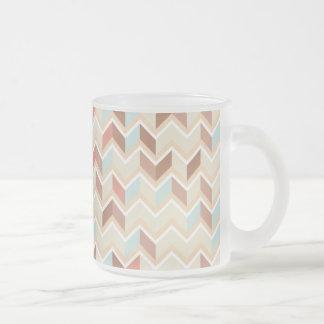 Pastel Chevron Pattern Frosted Glass Coffee Mug