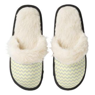 Pastel Chevron Pattern Pair Of Fuzzy Slippers